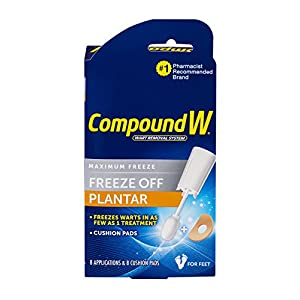 Compound W-Maximum Freeze-Freeze Off Plantar -8 Applications & 12 Comfort Pads Kit Safe, Fast & Effective