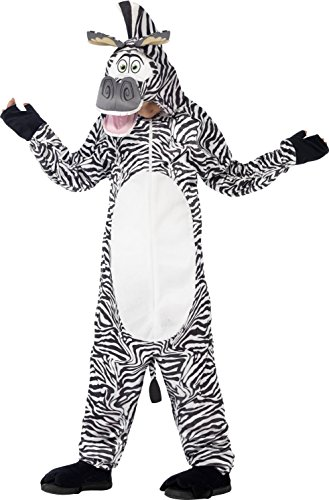 Marty The Zebra Kids Costumes (Smiffy's Children's Madagascar Marty The Zebra Costume, All-in-one Jumpsuit)