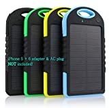 MAZIMARK--5000 mah Dual-USB Waterproof Solar Power Bank Battery Charger for Cell Phone