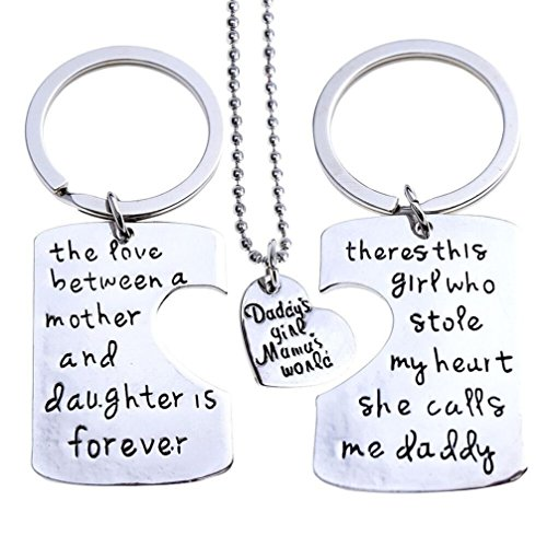 (Fun Daisy Family Heart Love Silver Tone Pendant Necklace and Keychain Set - Mom Daddy Grandma Grandpa Nana Bae (Daddy 3 Piece Key Chain))