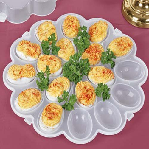 deviled egg tray with snap lock lid each holds 18