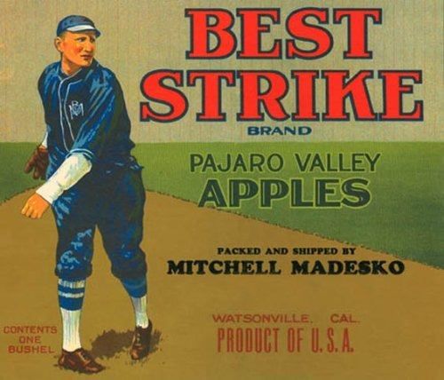 (BEST STRIKE BASEBALL PAJARO VALLEY APPLES CALIFORNIA USA FRUIT CRATE LABEL PRINT REPRODUCTION)