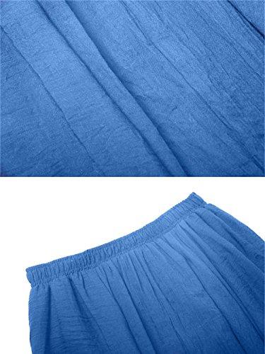 Sankill Estilo bohemio de las mujeres Cintura elástica de lino de algodón largo Maxi Falda Azul
