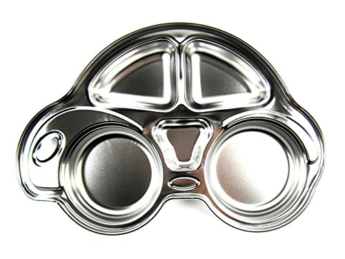 Stainless Steel Car Design Kids Food Tray Children Snack Plate Dish Silver