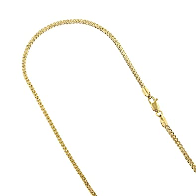 c264127787bf8 Luxurman 14k Yellow Gold Solid Franco Chain 2mm Wide Necklace with ...