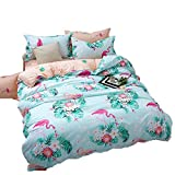 ED-Lumos Cute Green Flamingos Design Duvet Cover Set with 2 Pillowcases for Kids Bedding 4-Piece King Size(No Comforter Included)