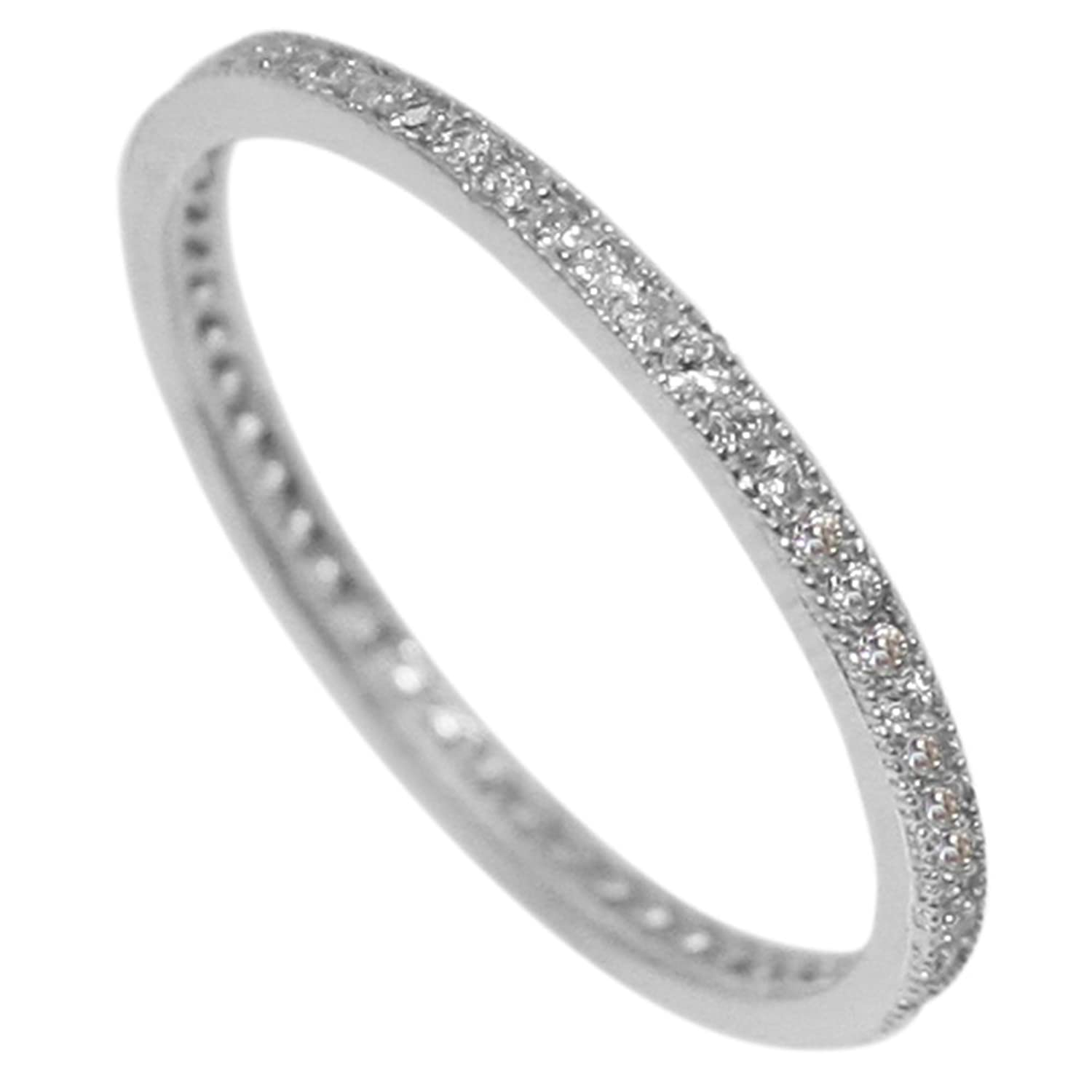 diamond pave eternity band wedding rings micro thin bands stacking gold white ring