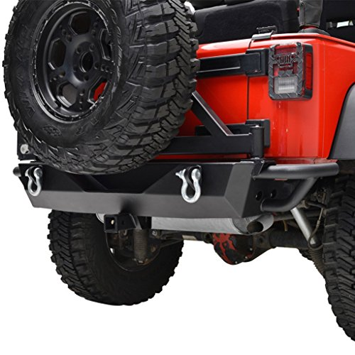 Restyling Factory Jeep Wrangler JK Black Rear Bumper with Tire Carrier and Jeep JK Wrangler Hitch Receiver