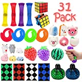 R.HORSE 31 Pack Fidget Toy Set Liquid Motion Timer/Stretchy Strings/Grape Ball/Mesh and Marble Toy /Mochi Squishies/Speed Cube/Magic Snake, Stress Relax Toy for Children Adult with ADHD ADD OCD Autism Anxiety