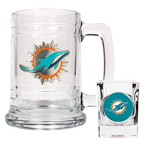 NFL Miami Dolphins Boilermaker Set (Primary Logo)