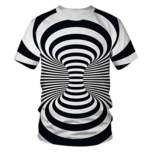 Tsyllyp Unisex Novelty Striped Design 3D Print Short Sleeve T Shirt Sports Tees