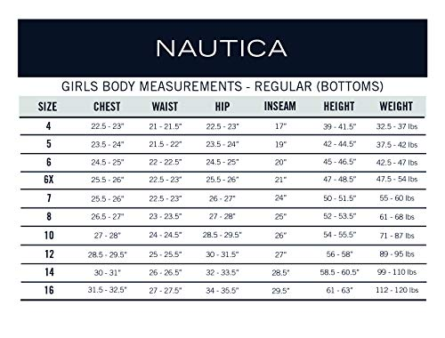 Nautica Girls' School Uniform Skinny Twill Bermuda Short