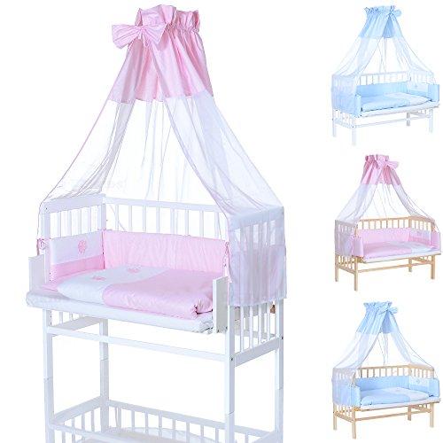 LCP Kids Baby Beistellbett in weiss mit rosa Bettwäsche Komplett Set, Nestchen und Matratze