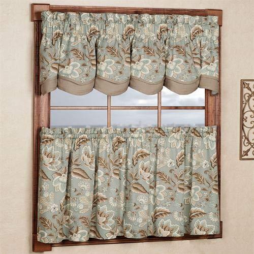 A. L. Ellis Inc Valerie Tier and Valance Window Set Cream Valerie Floral 2 Piece 2 pc Set