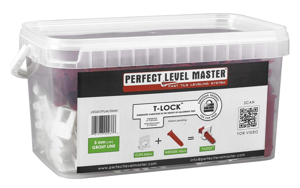 1/8'' T-Lock ™ Complete KIT Anti lippage Tile leveling system by PERFECT LEVEL MASTER ™ 300 spacers & 100 wedges in handy bucket ! Tlock