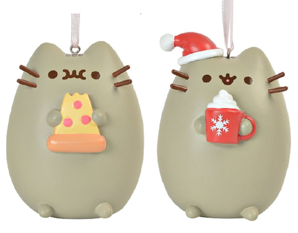 Enesco Meowy Christmas Pusheen Ornament bundle with I Love Pizza Pusheen Ornament