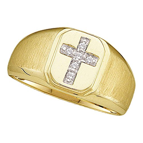 Mens Diamond Cross Ring 10k Yellow Gold Religious Band Square Frame Brushed Finish Polished 1/20 ctw (10k Ring Religious)