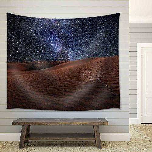 Amazing Views of the Gobi Desert under the Night Starry Sky Fabric Wall Tapestry