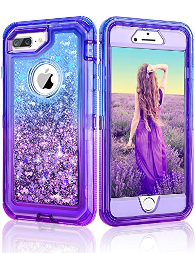 Cheeringary Case for iPhone 8 Plus Case, iPhone 7 Plus Case Flowing Quicksand Liquid Glitter Heavy Duty Shockproof Gradient Non-Slip Case for iPhone 6S Plus/6 Plus/7 Plus/8 Plus 5.5 Inch- Blue Purple