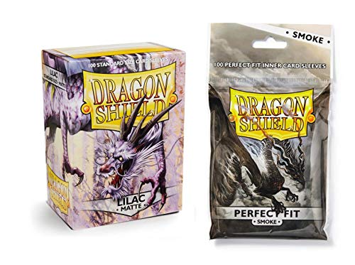 Dragon Shield Bundle: Matte Lilac 100 Count Standard Size Deck Protector Sleeves + 100 Count Smoke Inner Card - Lilac Matte