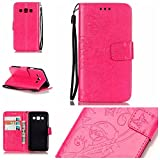 Galaxy A3(2015 Model) Cover with Free Screen Protector,Funyye Leather Wallet Strap Slots Cover Butterfly Embossed Design Full Protection Stand Case for Galaxy A3(2015 Model) - Rose Red
