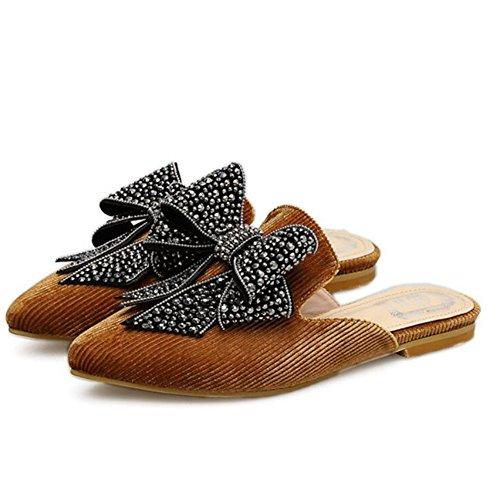 GAOLIXIA Zapatos de mujer Primavera Verano Bow Sandalias planas con tachuelas Zapatillas planas con mulas Zapatos Negro Marrón Brown
