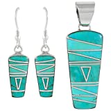 925 Sterling Silver Matching Pendant and Earrings Set with Genuine Turquoise and Semiprecious Gemstones