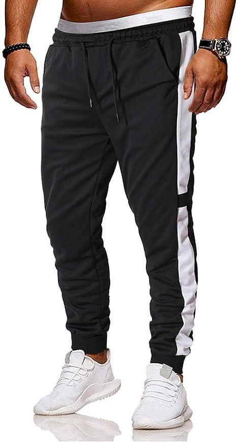 Mens Joggers Patchwork Striped Drawstring Slim Fit Sweatpants Trouser Casual Training Pants