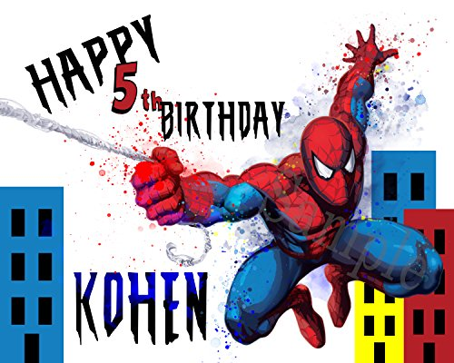 16 X 20 Spiderman Birthday Poster Party Decoration Personalized - Matte Photo Paper - UNFRAMED - Unmounted