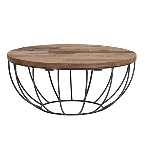 Amazon Com Coffee Table Round Wooden Design Metal Legs For Living