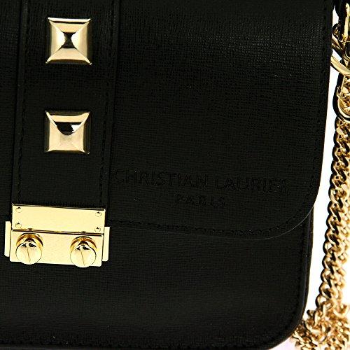 Christian Laurier - Sac à main en cuir modèle Jewel noir - Sac à main minaudière haut de gamme fabriqué en Italie en cuir véritable