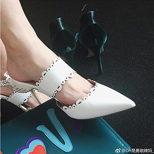 KPHY Lin Weiß hohl-Muster hohl-Muster hohl-Muster Kopf-Lace Spitzen Baotou Anhänger mit 50 cm High Heel Mädchen Hausschuhe 38fcf6