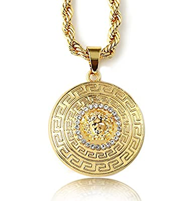 "Halukakah ""MEDUSA"" Men's 18k Stamp Real Gold Plated 3D Pendant Necklace with FREE Rope Chain 30"" Thick 5mm"
