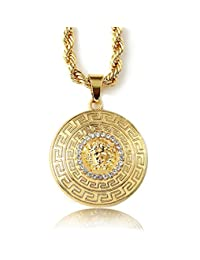 """Halukakah® Men's 18k Real Gold Plated 3d """"MEDUSA"""" Pendant Necklace ,with FREE Rope Chain 30"""" Thick 5mm"""