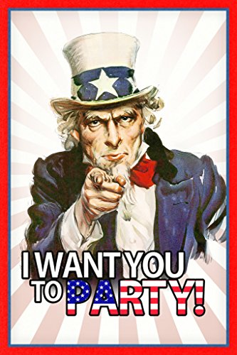 I Want You to Party Uncle Sam Funny Poster 12x18 inch ()