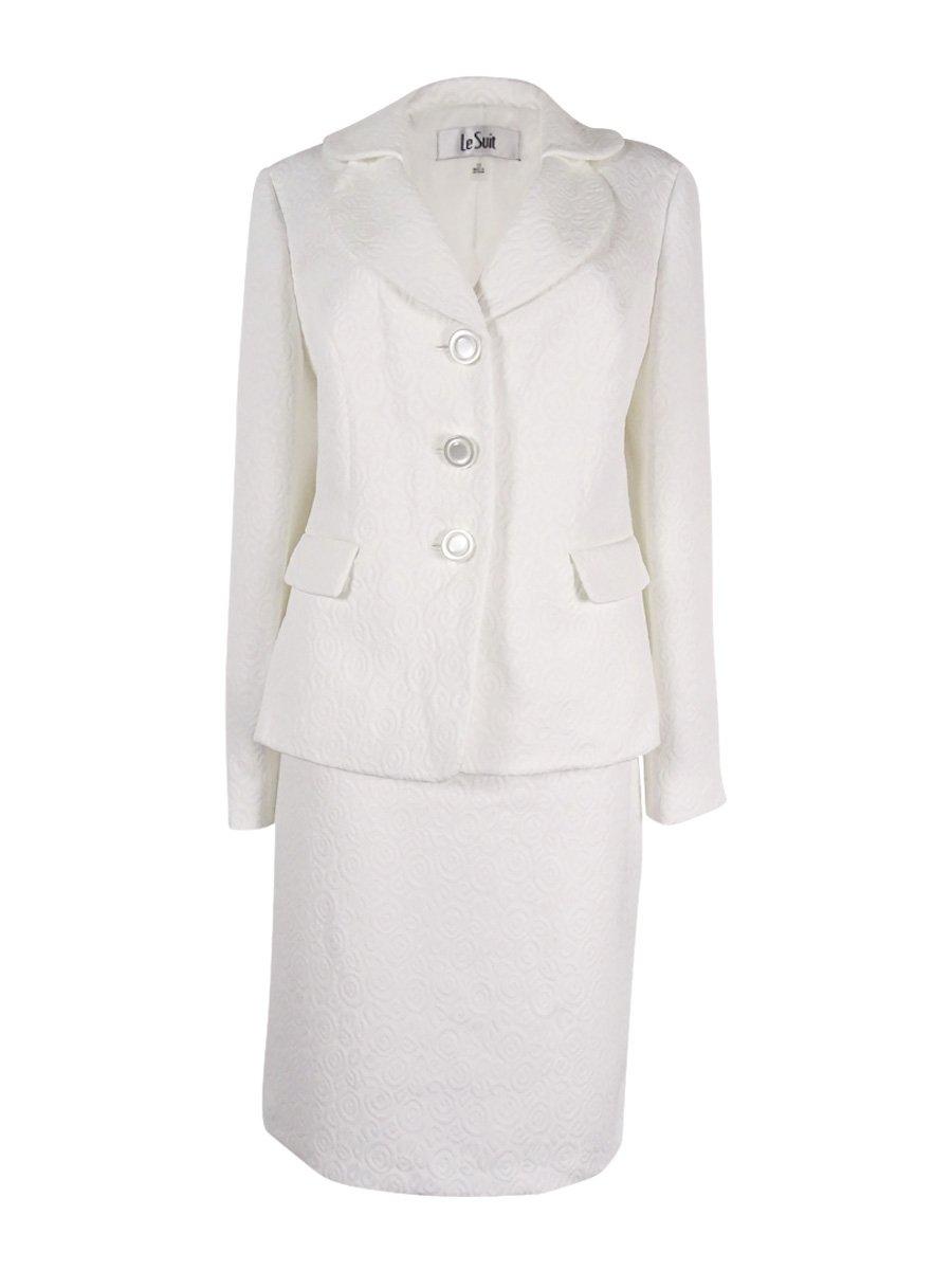 Le Suit Women's Jacquard 3 Button Jacket Skirt, Vanilla Ice, 12 by Le Suit