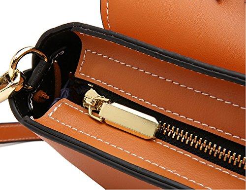 Handbags Women Q0982 Bag Soft Leather Brown Dissa Multiple Shoulder Pockets qS58FFxR1