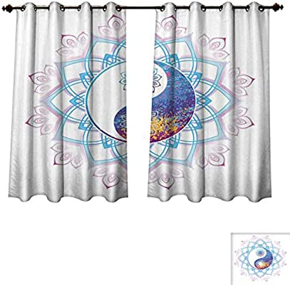 a1e59388cbba Ethnic Blackout Thermal Backed Curtains for Living Room Yin Yang Symbol  Mandala Hippie Asian Design with Floral Swirl Frame Image Customized  Curtains Purple ...