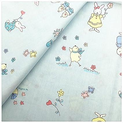 Telas color azul pastel de diseños ratoncitos conejitos para vestidos, canastillas attrezo casa de muñecas