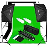 Excelvan Studio Continuous Lighting Kit Softbox Kit Background Set -- 2 Softbox + 9*6 ft Backdrops(Black White Green) + 10*6.5ft Background Support + Light Stand + 2x125W 5500K Bulbs + Portable Bag