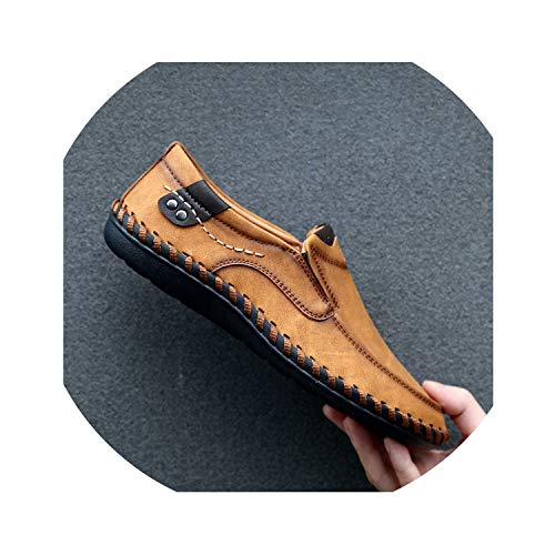 - Zombie Jessica Handmade Genuine Leather Mens Shoes Casual Luxury Men Loafers Fashion Breathable Driving Shoes Slip on Moccasins,Yellow,9.5