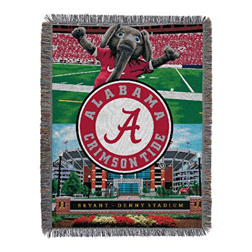 The Northwest Company Officially Licensed NCAA Alabama Crimson Tide Home Field Advantage Woven Tapestry Throw Blanket, 48