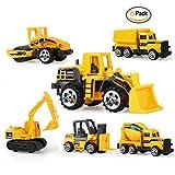 Yaye Mini Inertia Toy Early Construction Engineering Vehicles Set include Bulldozers,Dumper,Tank Truck,Forklift,Asphalt Car,Excavator for Children Kids Gift(6pcs)