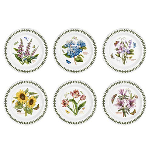 (Portmeirion Botanic Garden Dinner Plates, Set of 6 Assorted Motifs)