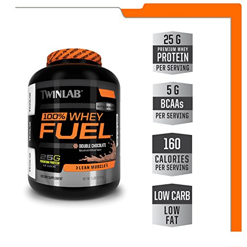 Twinlab 100% Whey Fuel Protein Powder - Double Chocolate Whey Protein Isolate Powder & BCAA Muscle Builder For Post Workout Muscle Recovery - Protein Shake Powder For Men & Women (5 Pounds)