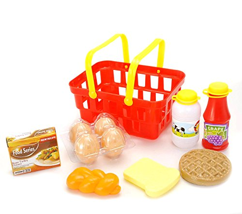 Play Foods Basket Dinner (PowerTRC Kids Grocery Basket Playset with Pretend Play Milk Egg Bread Toy (10 Pieces))