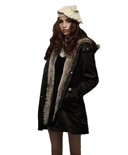 Mujer de invierno de lana gruesa chaqueta con capucha larga chaqueta de viento cinturón chaqueta cal...