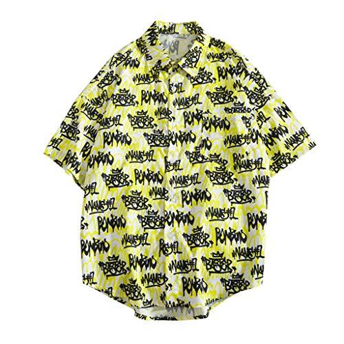 YKARITIANNA 2019 Mens Summer Fashion Shirts Casual Short Sleeve Beach Tops Loose Casual Blouse Yellow