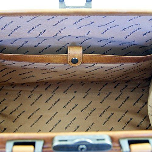BARONE di MALTZAHN - Borsa da medico ROOSEVELT in cuoio marrone - incl. prodotto per la cura di pelle