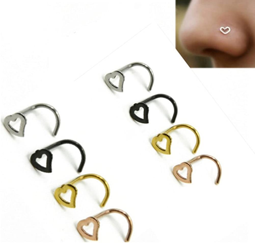 Gsdviyh36 Body Piercing Jewelry,1 Pc Stainless Steel Heart Shape Piercing Nose Ring Fashion Unisex Punk Jewelry Perfect a Jewelry Gift Nose Ear Lip Belly Button Decor